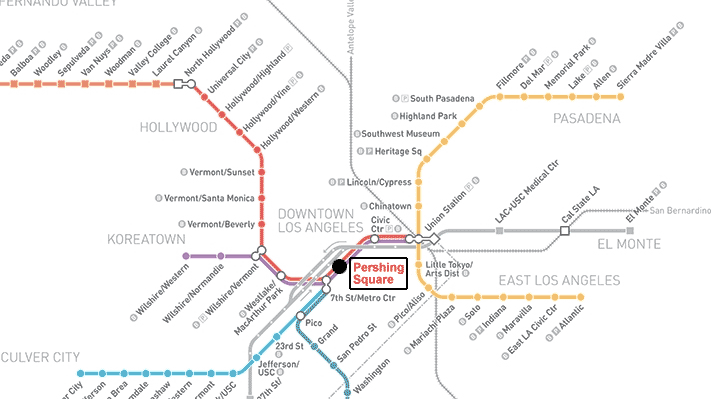 Red Line Los Angeles Subway Map.Map Of Parking Lots In Downtown Los Angeles For The Spring Arts