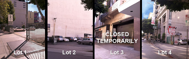 Map of parking lots in downtown Los Angeles for the Spring